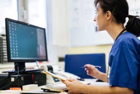 Nurse on computer screen